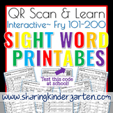 QR Scan & Learn~Sight Word Printables~ Fry 101-200