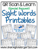 QR Scan & Learn~Sight Word Printables~ Special Request