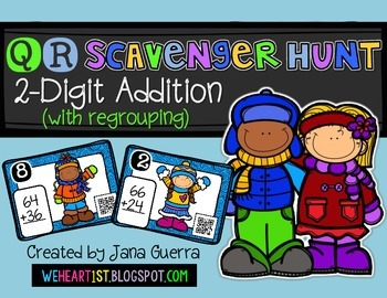 QR Scavenger Hunt: 2-Digit Addition with Regrouping