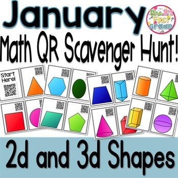 QR Math Scavenger Hunt - 2D and 3D Shapes