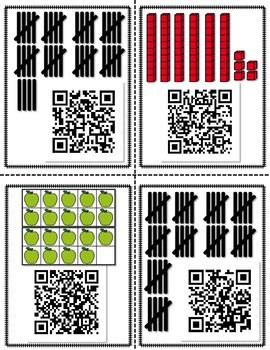 QR Math Scavenger Hunt Number Identification -Tally Marks, Ten Frames, Base Ten