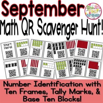 QR Math Scavenger Hunt Number Identification -Tally Marks,
