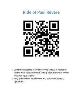 QR Scavenger Hunt- Revolutionary War Review
