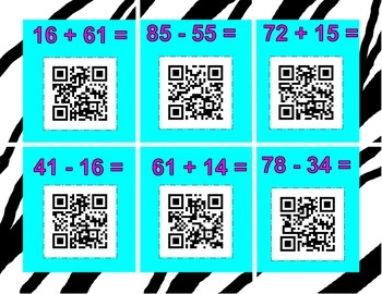 QR Scavenger Hunt addition and subtraction bundle with and without regrouping