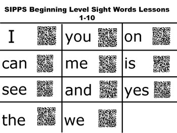 QR Sight Words Beginning Level SIPPS
