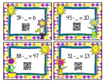 QR Subtraction: Missing Minuend & Subtrahend Flash Cards
