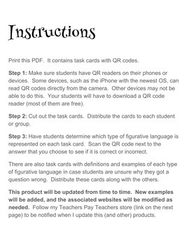 QR Code Task Cards - Figurative Language
