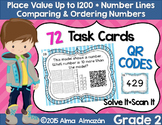QR Task Cards Place Value Number Lines Comparing and Ordering Numbers