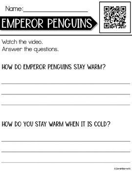 QR Watch and Respond Sheet Penguins - January
