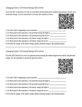 QR code Kinetic and Potential Energy Activity