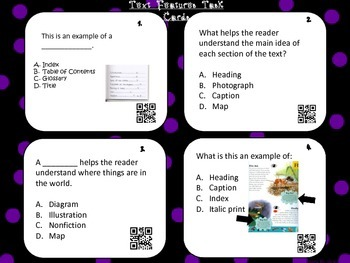 QR code Nonfiction Text Features Task Cards
