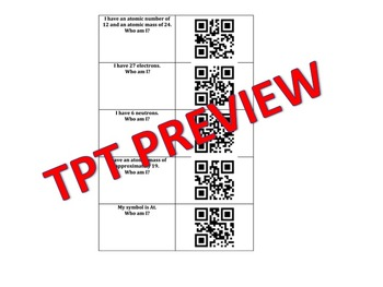 QR code : Who Am I? Elements and the Periodic Table Protons Neutrons Electrons