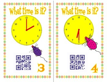 Time to hour and half hour - 24 QR code self checking task cards TEK 1.7e