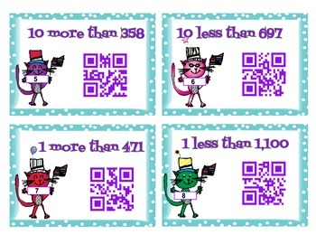1 more, 1 less, 10 more, 10 less to 1,200 - self checking QR code task cards