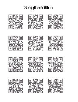 QR codes: 3 digit addition and subtraction