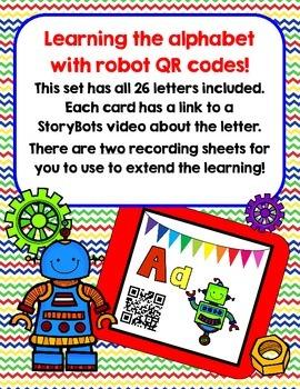QR codes- Alphabet with robot theme