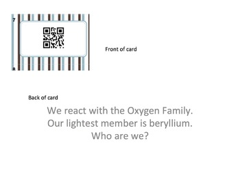 QR codes Periodic Table Groups/Families Who am I?