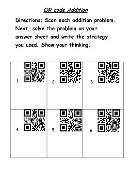 QR codes addition and subtraction with regrouping