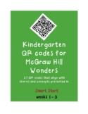 QR codes for McGraw Hill Wonders Kindergarten: Smart Start week 1