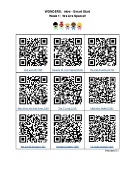 QR codes for McGraw Hill Wonders Kindergarten: Smart Start weeks 1-3