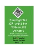 QR codes unit 6 McGraw Hill Wonders Kindergarten: Weather for All Seasons wks1-3