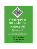 QR codes unit 6 McGraw Hill Wonders Kindergarten: Weather