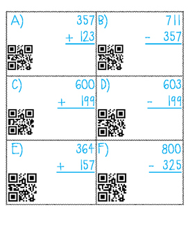 QR reader,  3 digit addition and Subtraction Review