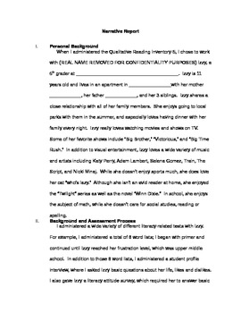 QRI-5 (Qualitative Reading Inventory) Narrative Report