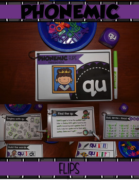 QU PHONEMIC BLENDS Interactive Notebook, Poster, Cards & FLIPS