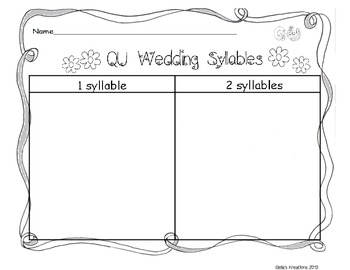 QU Wedding Syllable Sort Freebie