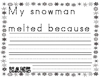 Melting Snowman Writing paper