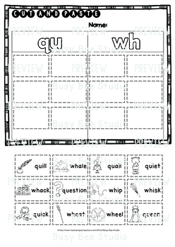 QU and WH Sorts | Cut and Paste Worksheets