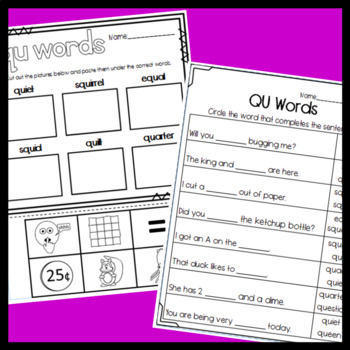QU worksheets: Sorts, Matching, Read and Draw, and More