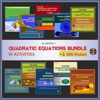QUADRATIC EQUATIONS Activities Bundle