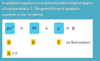 QUADRATIC EQUATIONS BEST FOR REVISION TEST AND HOME WORK FOR I WEEK