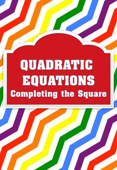 QUADRATIC EQUATIONS - Competing the Square  Finding C