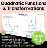 Quadratic Functions and Transformations (Algebra 2 - Unit 4)