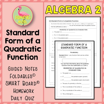 Algebra 2 Standard Form Of A Quadratic Function By Jean Adams Tpt