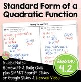 Algebra 2: Standard Form of a Quadratic Function