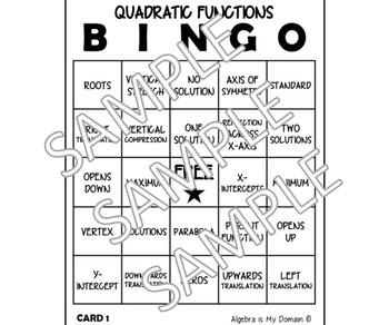 QUADRATIC FUNCTIONS BINGO - Quadratics Vocabulary Activity