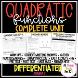 QUADRATIC FUNCTIONS: No PREP Complete Unit + Differentiated + Answer Keys