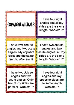 QUADRILATERALS Cards and Riddles!
