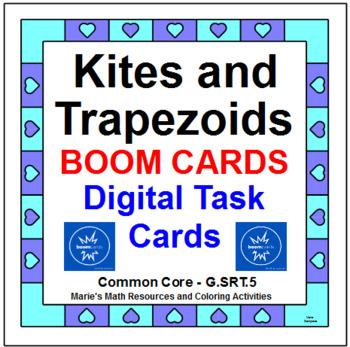 "QUADRILATERALS - KITES & TRAPEZOIDS: ""DIGITAL"" BOOM CARDS (2 SETS 32 TASK CARDS)"
