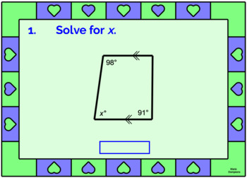 """QUADRILATERALS - ANGLES IN TRAPEZOIDS: """"DIGITAL"""" BOOM CARDS (34 TASK CARDS)"""