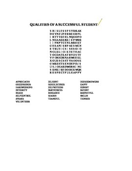 QUALITIES OF A SUCCESSFUL STUDENT WORD SEARCH