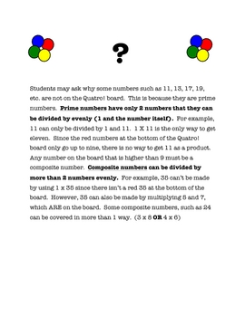 QUATRO! A Fun Multiplication Facts Game (Connecting 4 with a twist)