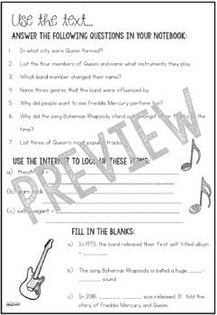 QUEEN Music Study Activities and Worksheets