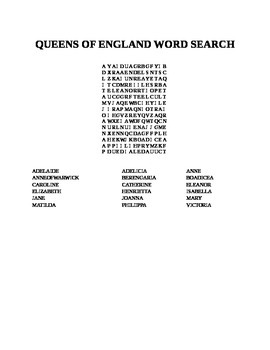 QUEENS OF ENGLAND WORD SEARCH