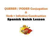 QUERER, PODER Conjugation (Verb+Infinitive Construction):