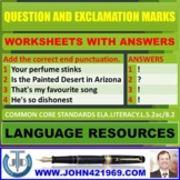 QUESTION AND EXCLAMATION MARKS WORKSHEETS WITH ANSWERS